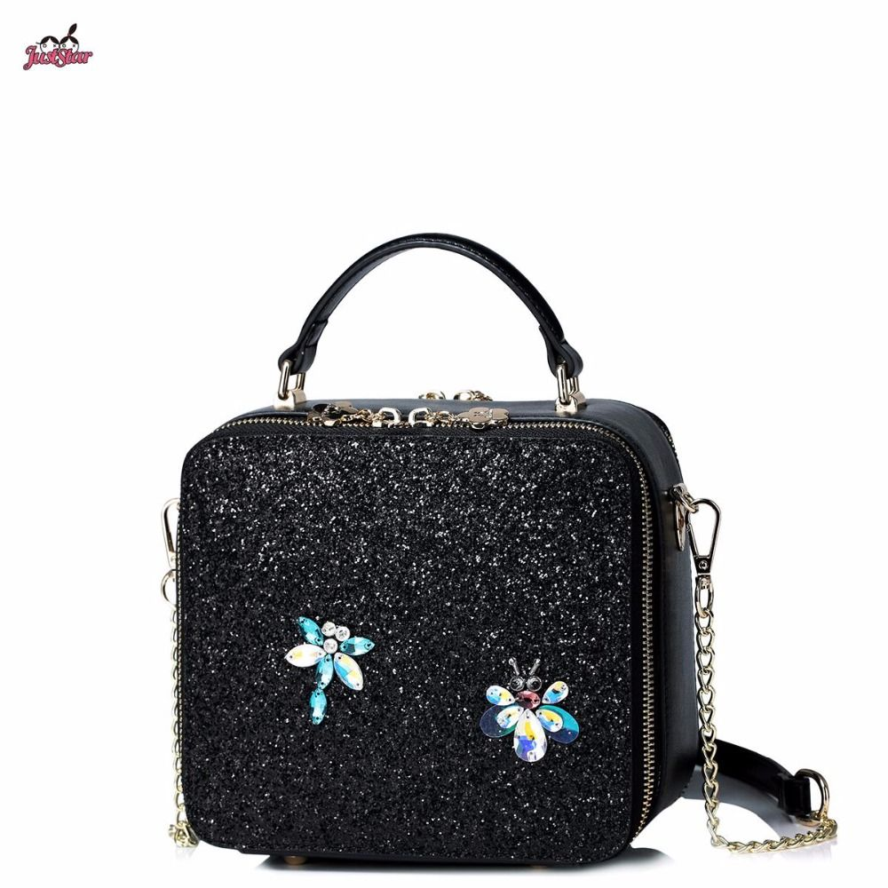 87084b1afc98 Just Star Brand Design Fashion Sweet Diamonds Insects Sequins PU Women  Leather Girls ladies Handbag Shoulder Bag