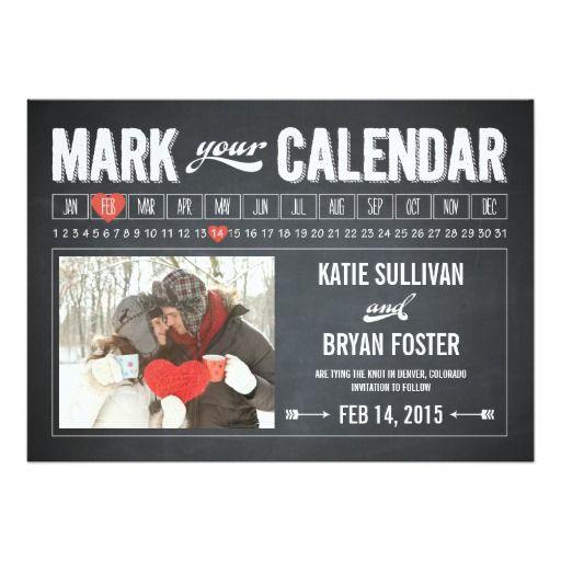 Chalkboard Calendar Photo Save The Date Cards Chalkboard Save the