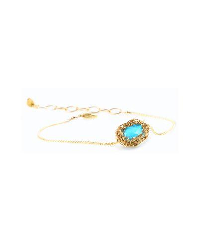 turquoise crochet wire bracelet <3