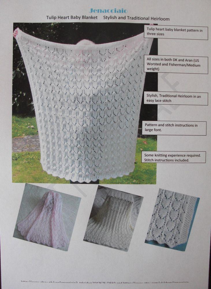 Original Baby Blanket Knitting Pattern Dk Aran 3 Sizes Stylish