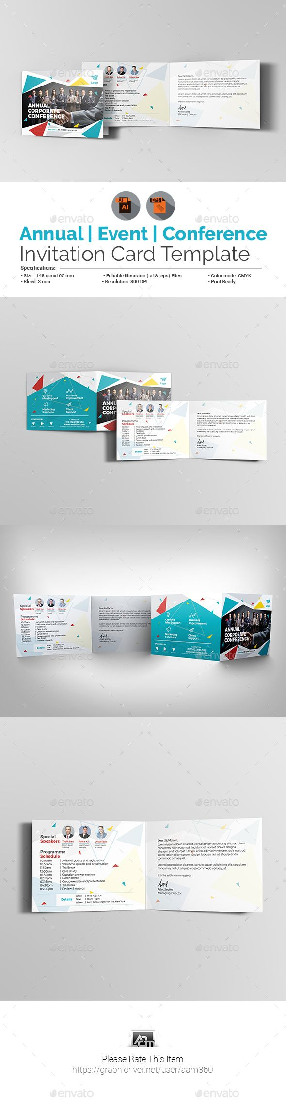 Annual Corporate EventConference Invitation Card  Template