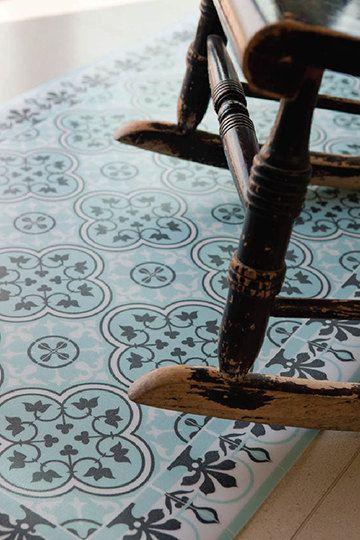 free shipping tiles pattern decorative pvc vinyl mat linoleum rug color azure and gray 172