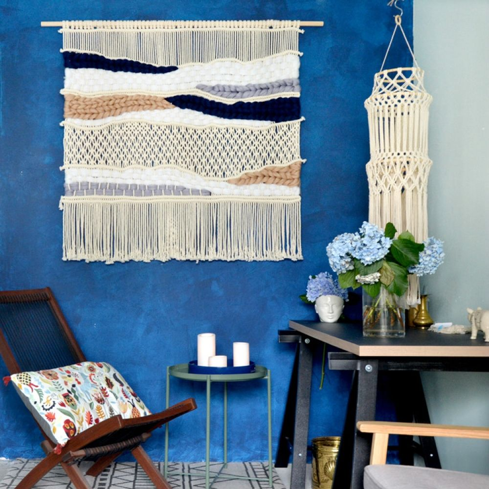Hand-knitted tapestry with tassel 100cm x 100cm Wall art #WallHanging