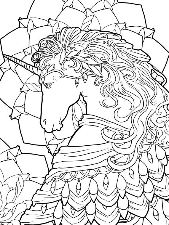 Beautiful magical unicorn and fairies coloring page