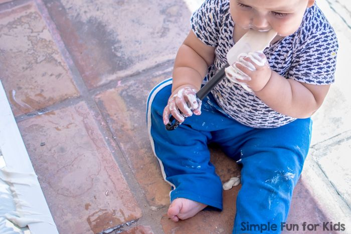 Simple Sensory Play for Babies: Yogurt on the Mirror!