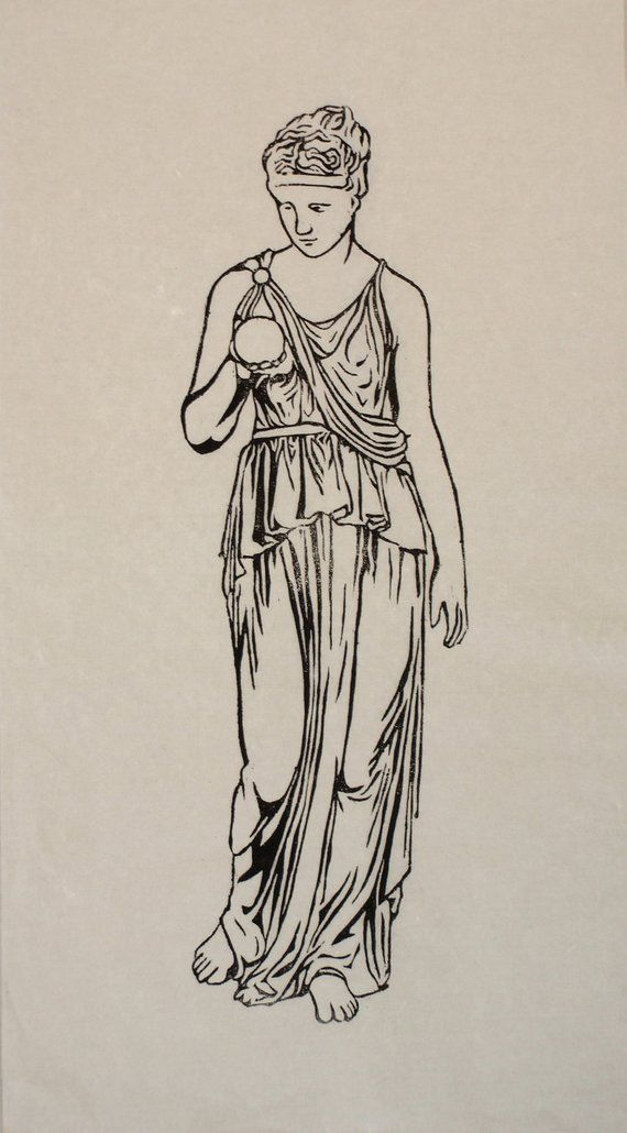 Photo of Items similar to Clio:  Muse of History (woodblock print on rice paper) on Etsy