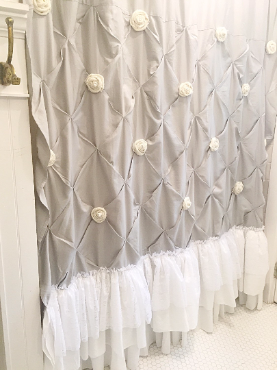 White Shabby Chic Shower Curtain With Ruffles And Custom Burlap Roses