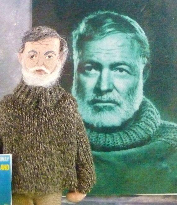 Ernest Hemingway Doll Art Miniature Old Man by UneekDollDesigns, $43.00