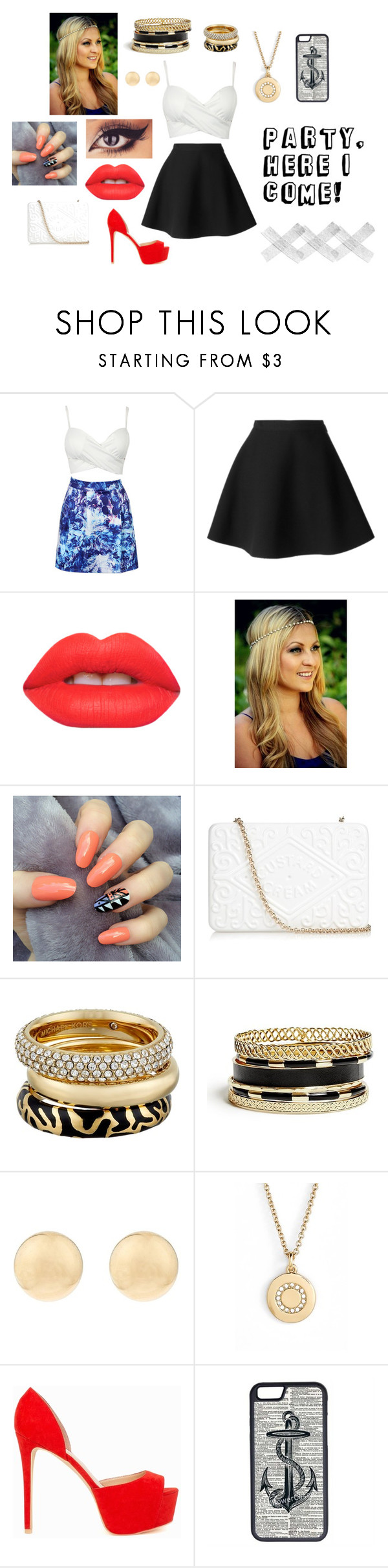 """""""#19"""" by onelovelily ❤ liked on Polyvore featuring MSGM, Lime Crime, Anya Hindmarch, Michael Kors, GUESS, Kate Spade, Nly Shoes, CellPowerCases and partytime"""