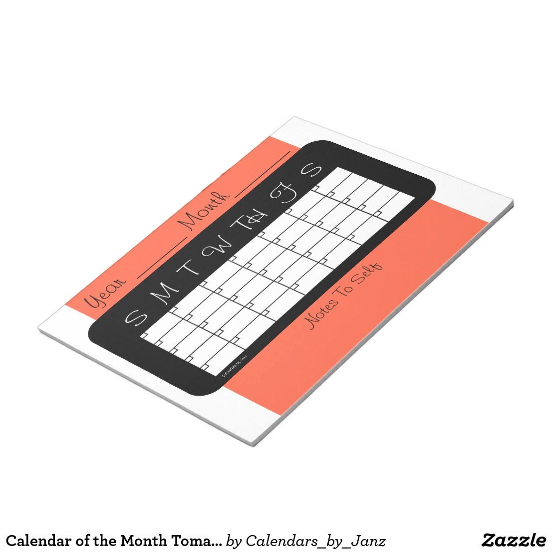 Calendar of the Month Tomato Red Notepad