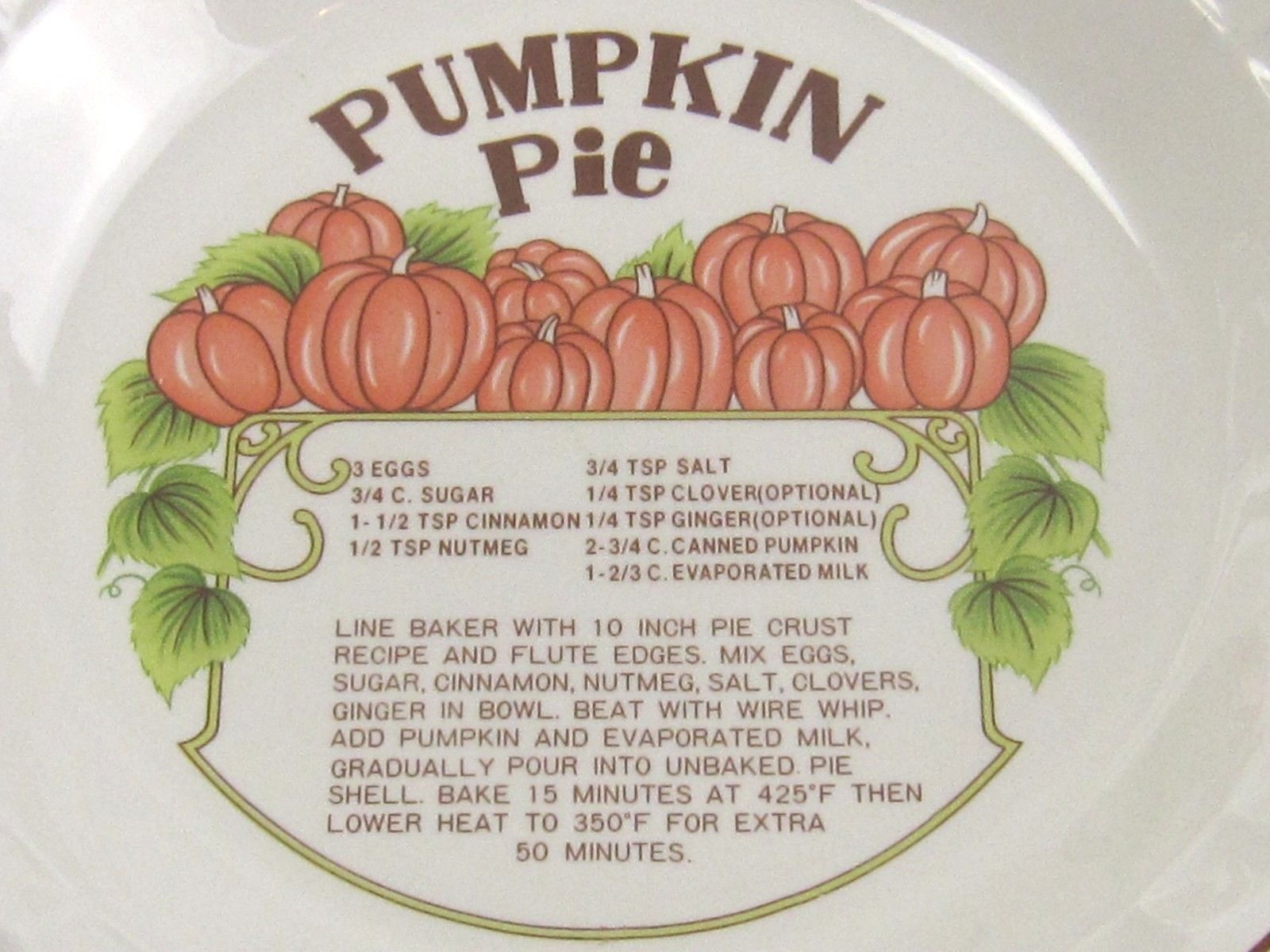 Pumpkin Pie Plate Baking Stoneware with Recipe 10\  Hankook & Pumpkin Pie Plate Baking Stoneware with Recipe 10\