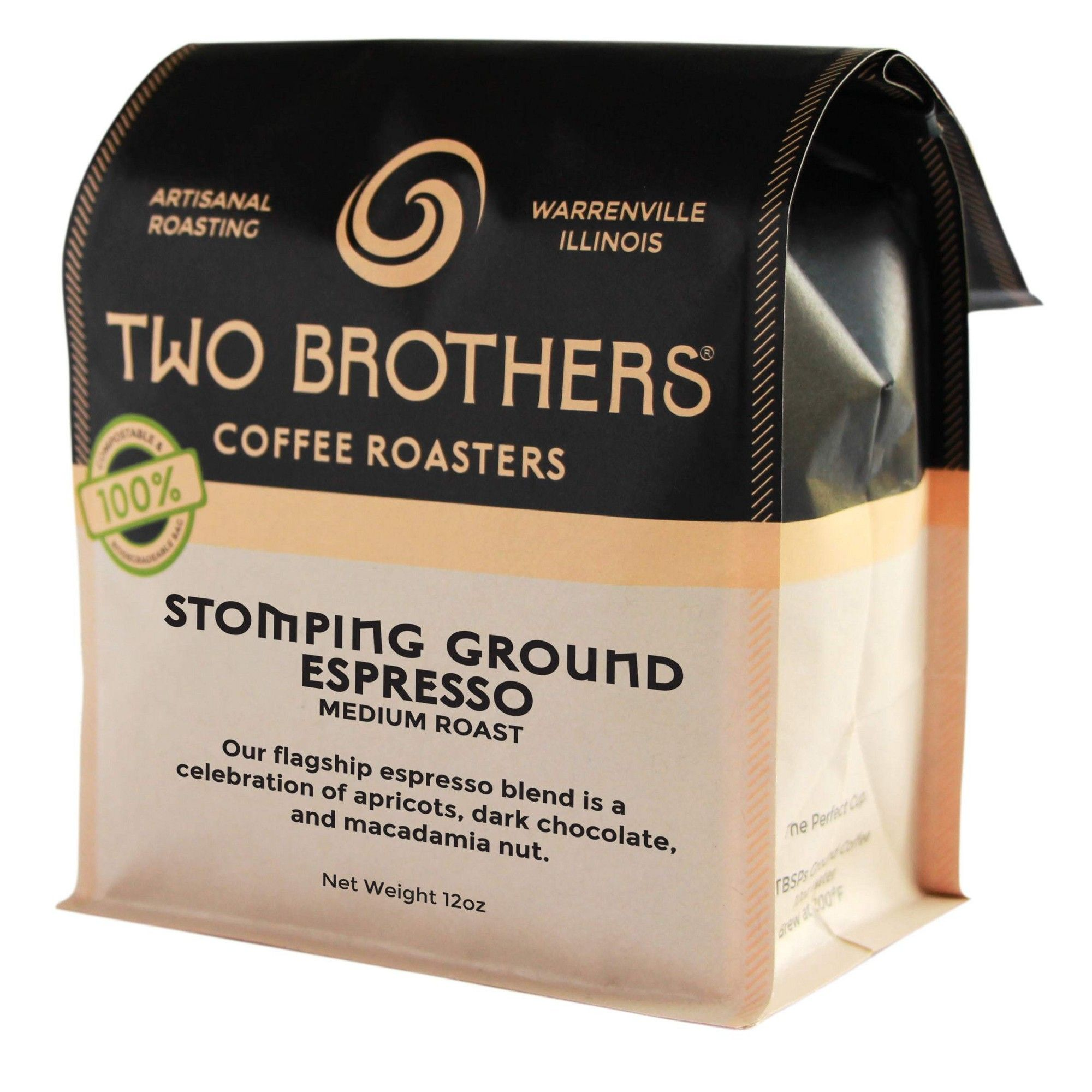 Two Brothers Stomping Ground Espresso Whole Bean Medium Roast Coffee 12oz Medium Roast Coffee Ground Espresso Coffee Roasting