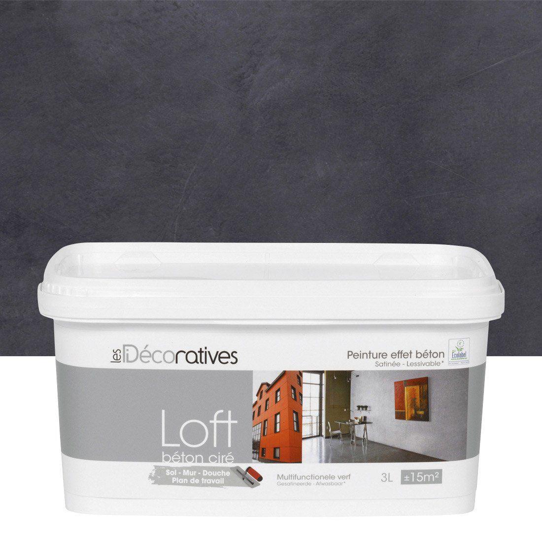 Peinture à Effet, Loft Béton Ciré LES DECORATIVES, Noir Carbone, 3 L | Leroy  Merlin