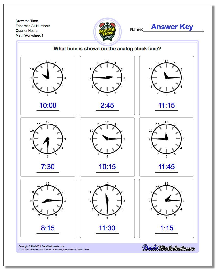 Draw The Time Face With All Numbers Quarter Hours Worksheet Telling Analog Time Worksheet Clock Worksheets Time Worksheets Telling Time Worksheets