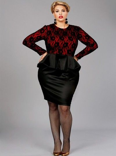 """Plus Size """"Isabel"""" Lace Peplum dress from Monif C Red Top ..."""
