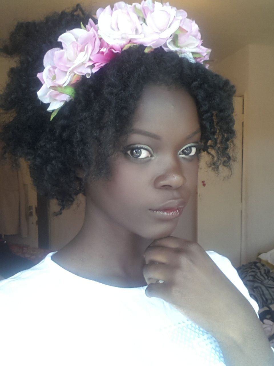 Beautiful Natural Hair And Flower Crown