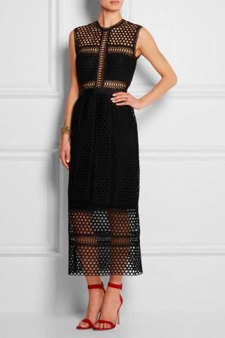 Self-Portrait | Macramé lace midi dress | NET-A-PORTER.COM £300