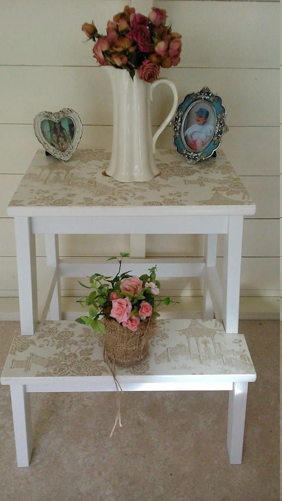 Wooden Step Stool Bedside: SOLD SOLD SOLD Upcycled, Wooden Step Stool, Shabby Side