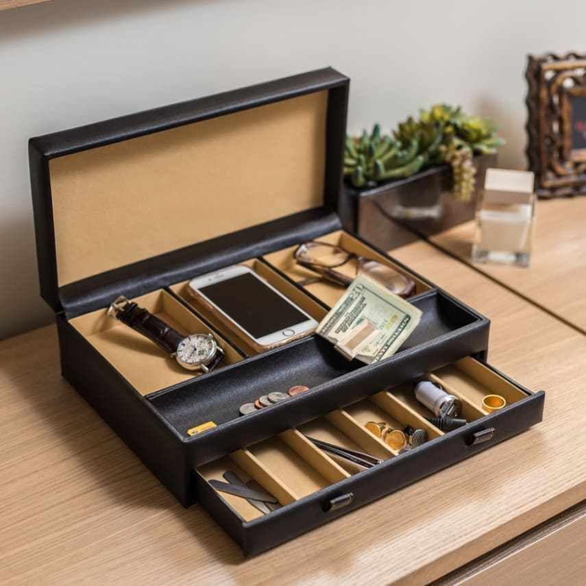 Large Men S Organizer 10 Compartment Valet Jewelry Watch Box