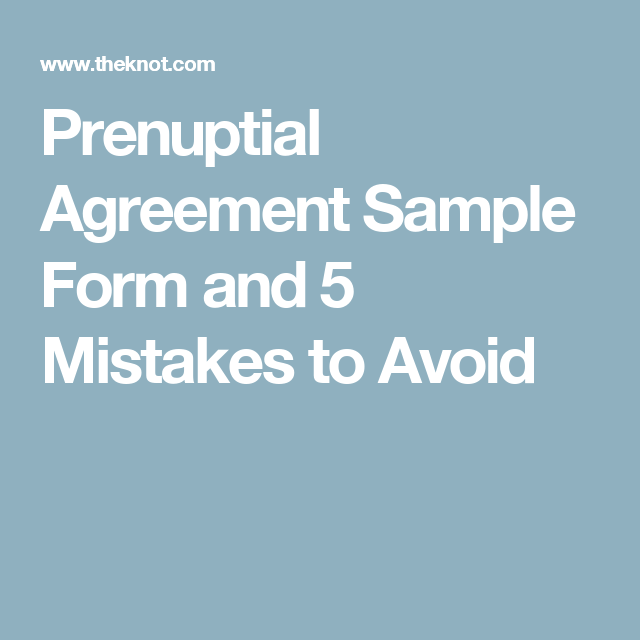 Prenuptial Agreement Sample Form And  Mistakes To Avoid  Dream
