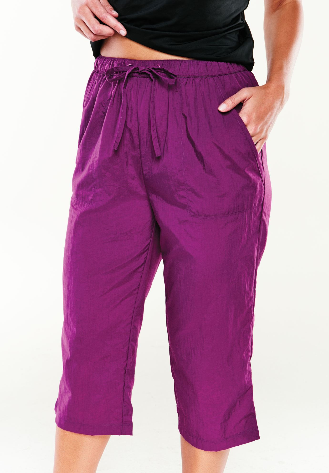 d0f1813c14 Plus Size Taslon® elastic waist cover-up capris | Clothes for Gina ...