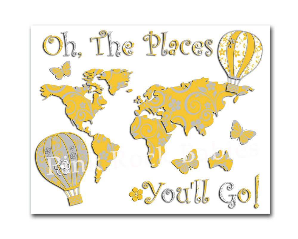 Oh the places you\'ll go world map yellow grey nursery artwork baby ...
