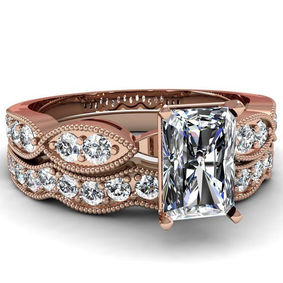 Fascinating Diamonds 1.25 Ct Radiant Cut:Very Good Diamond Bridal Engagement Rings Set VS1-G Color GIA