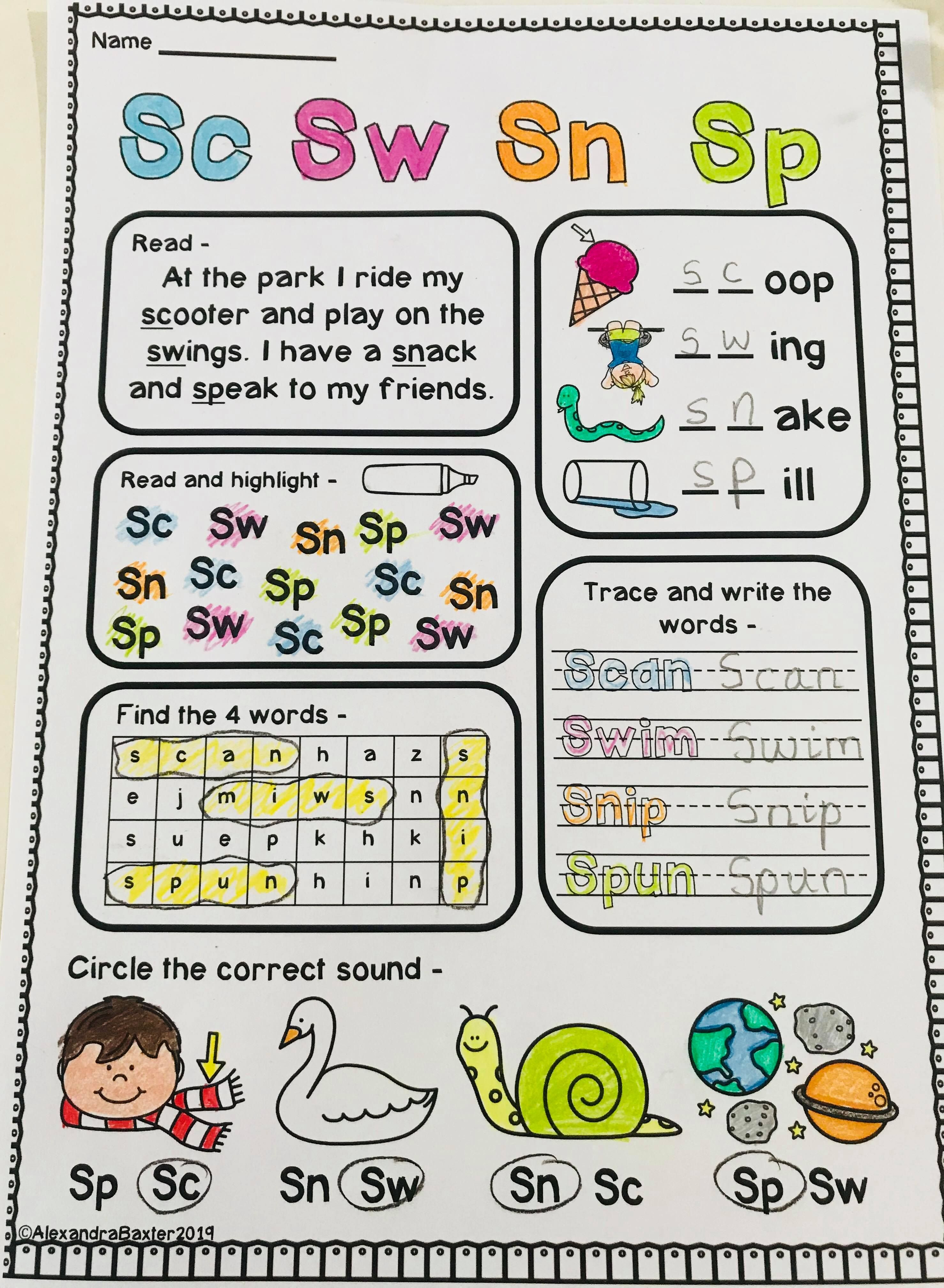 S Blends Phonics Worksheets