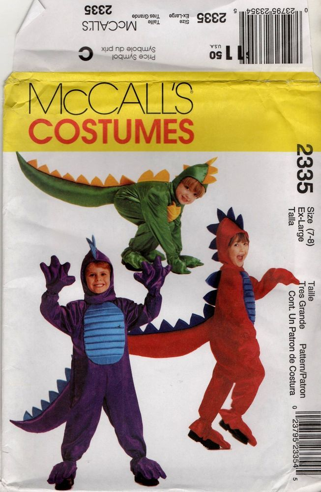 2335 Boys girls Dragon costume Halloween uncut sewing pattern sizes ...