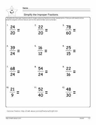 9 Worksheets on Simplifying Fractions for 6th Graders ...
