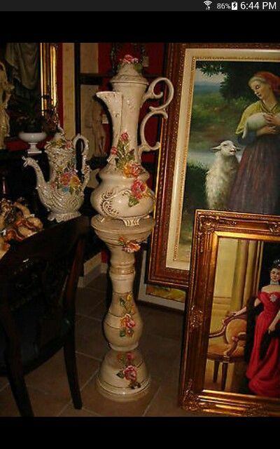 Tall Antique Capodimonte Jardiniere Porcelain Pedestal