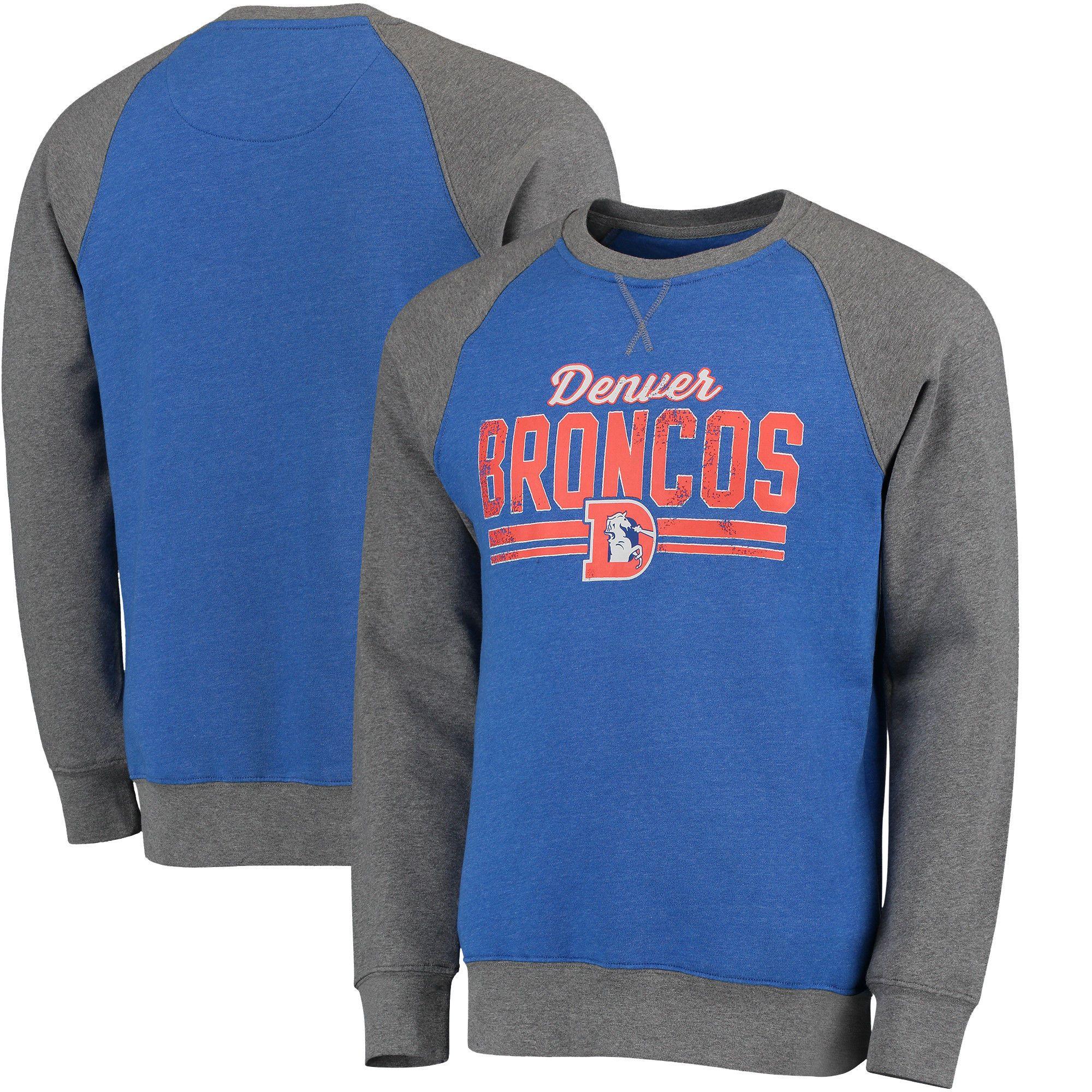 c0c6e81dd Men s Denver Broncos Pro Line Royal Timeless Booster Varsity Crew Fleece  Raglan Sleeve Tri-Blend Sweatshirt