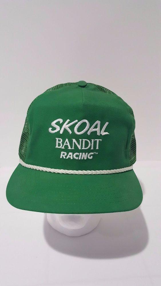 4b9d6baba5 Vintage 80 s Unworn SKOAL BANDIT RACING Green Mesh Trucker Hat Cap Snapback  USA  SKOAL  Baseball  Casual
