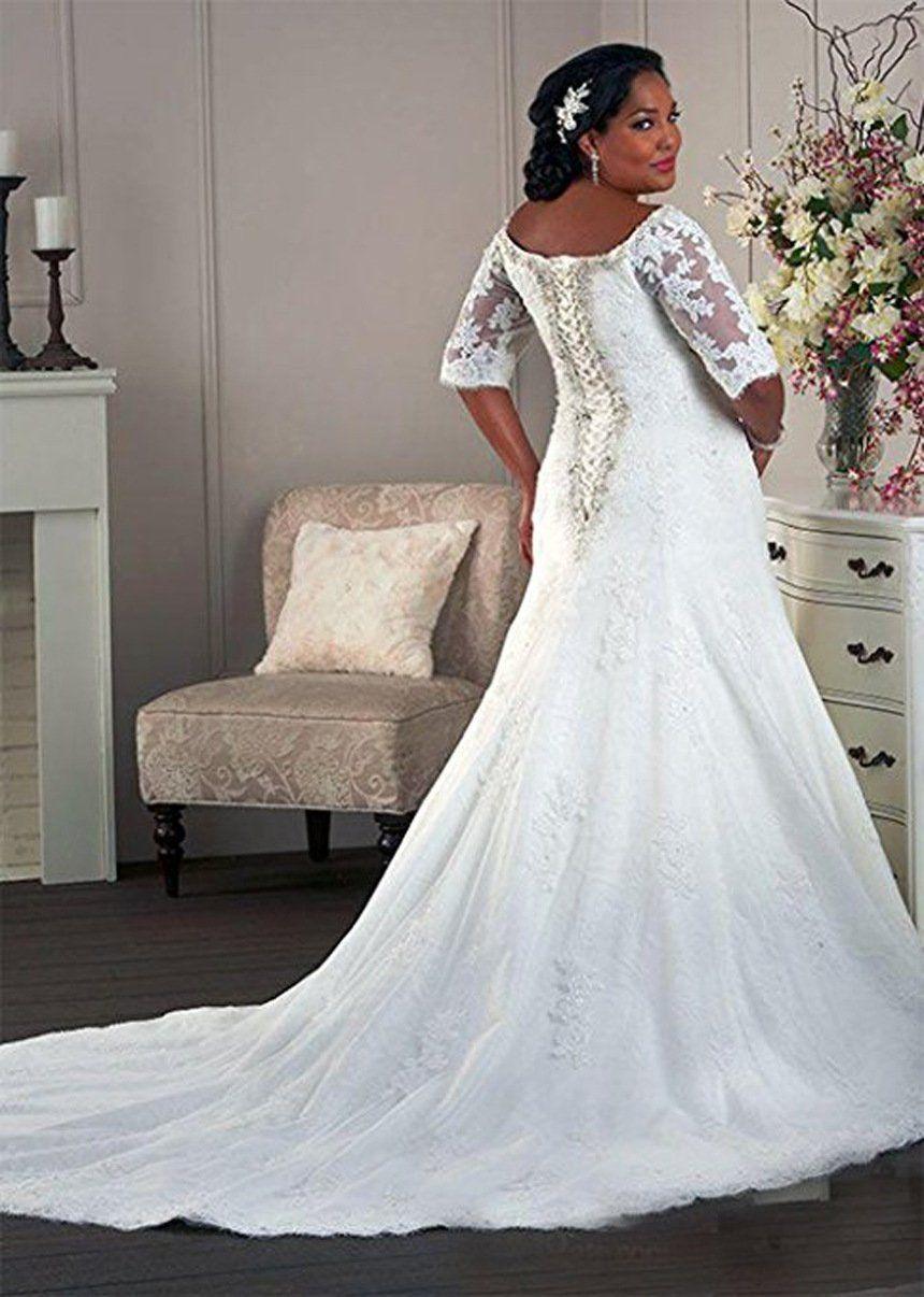 WeddingDazzle Womens Plus Size Half Sleeve Lace Train
