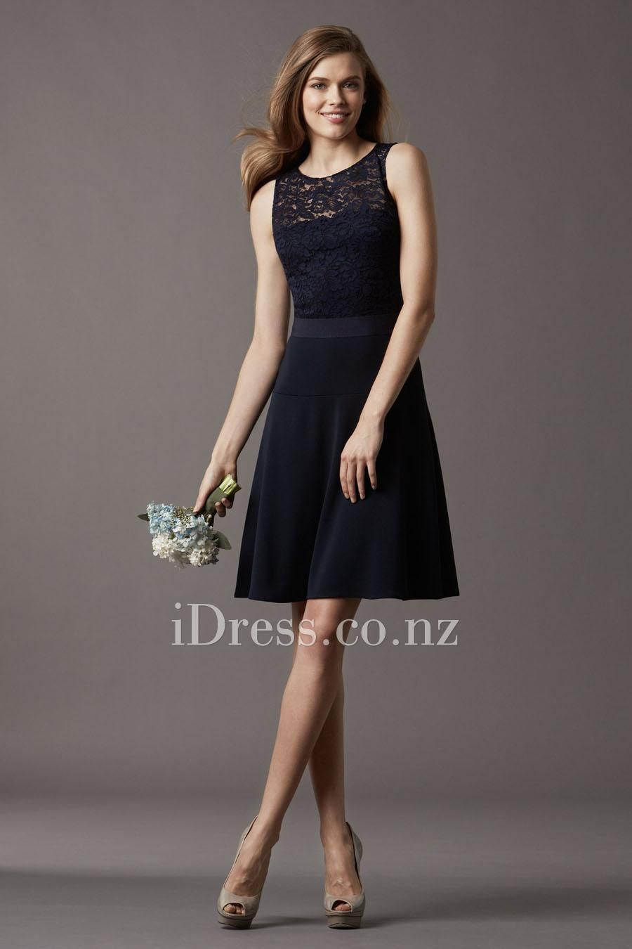 Midnight blue lace jewel neck sleeveless bridesmaid dress idress midnight blue lace jewel neck sleeveless bridesmaid dress idress ombrellifo Choice Image