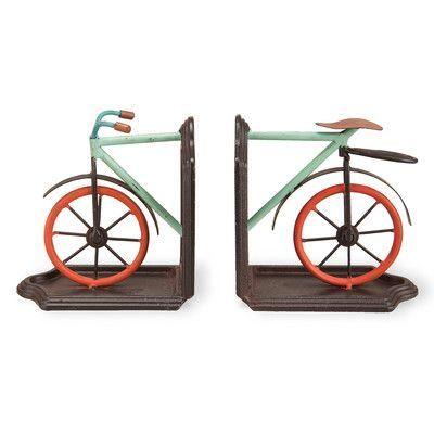 Foreside Home & Garden 2 Piece Bike Book Ends Set