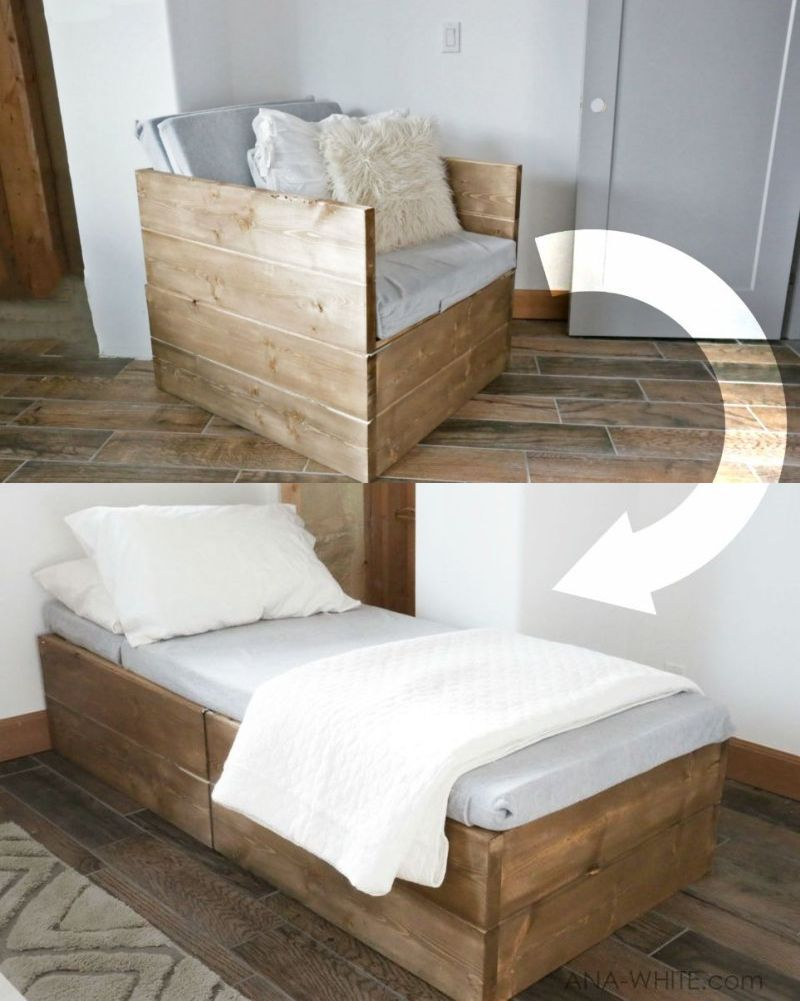 Ana White S Diy Sleeper Chair Wooden Armchair That Becomes A Bed