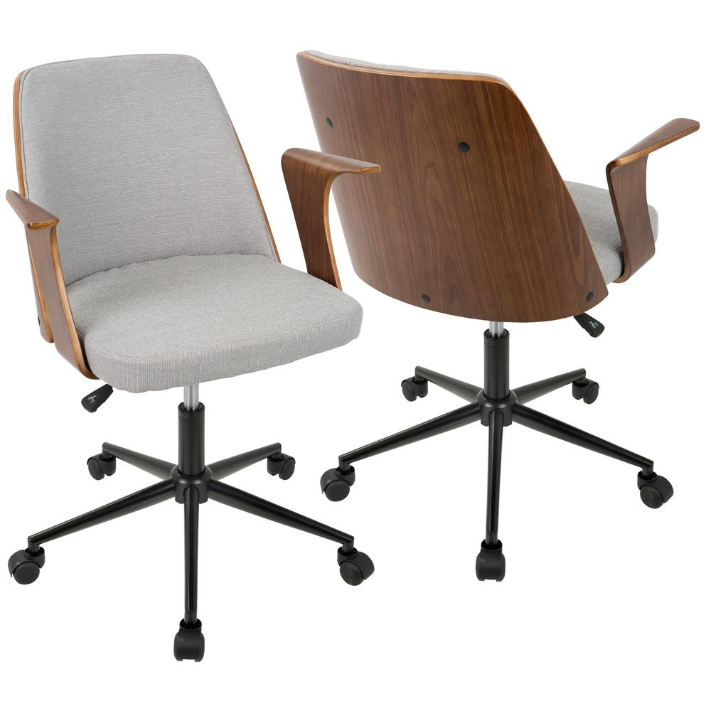 Lumisource Verdana Walnut And Grey Office Chair Oc Vrdna Wl Gy The Home Depot Modern Office Chair Mid Century Modern Office Chair Mid Century Modern Office