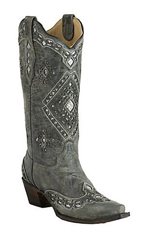 1c7d1bbef95 Corral Women's Vintage Charcoal with Silver Sequin Inlay Snip Toe ...