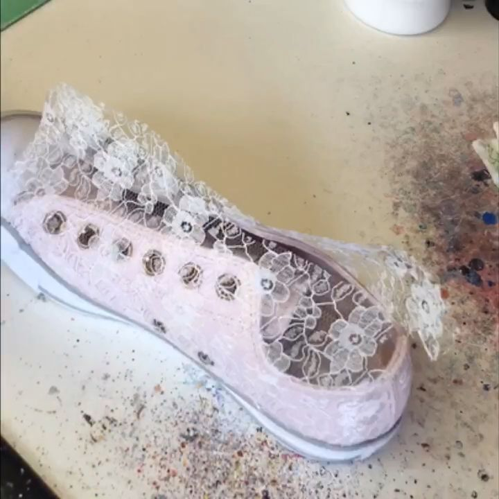 Blush Rose Ivory Lace Covered Leather Converse