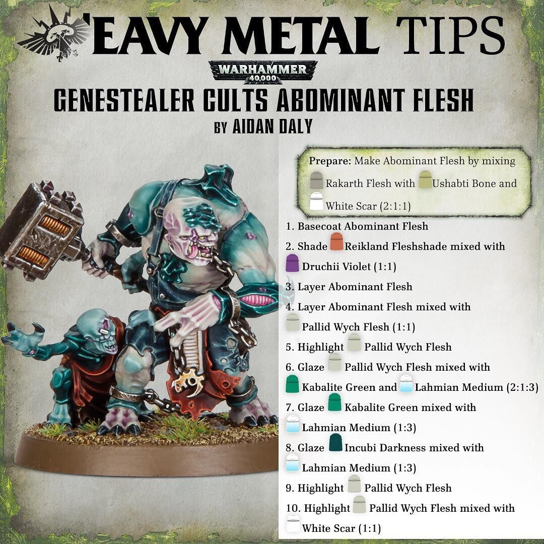 Warhammer On Instagram Lastchancesrvivor0 Asked Eavy Metal How To Paint The Flesh Of The Abominant So We Warhammer Paint Painting Tutorial Mini Paintings