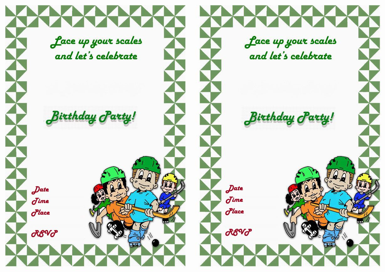 Hockey Free Printable Birthday Party Invitations Birthday Party Invitations