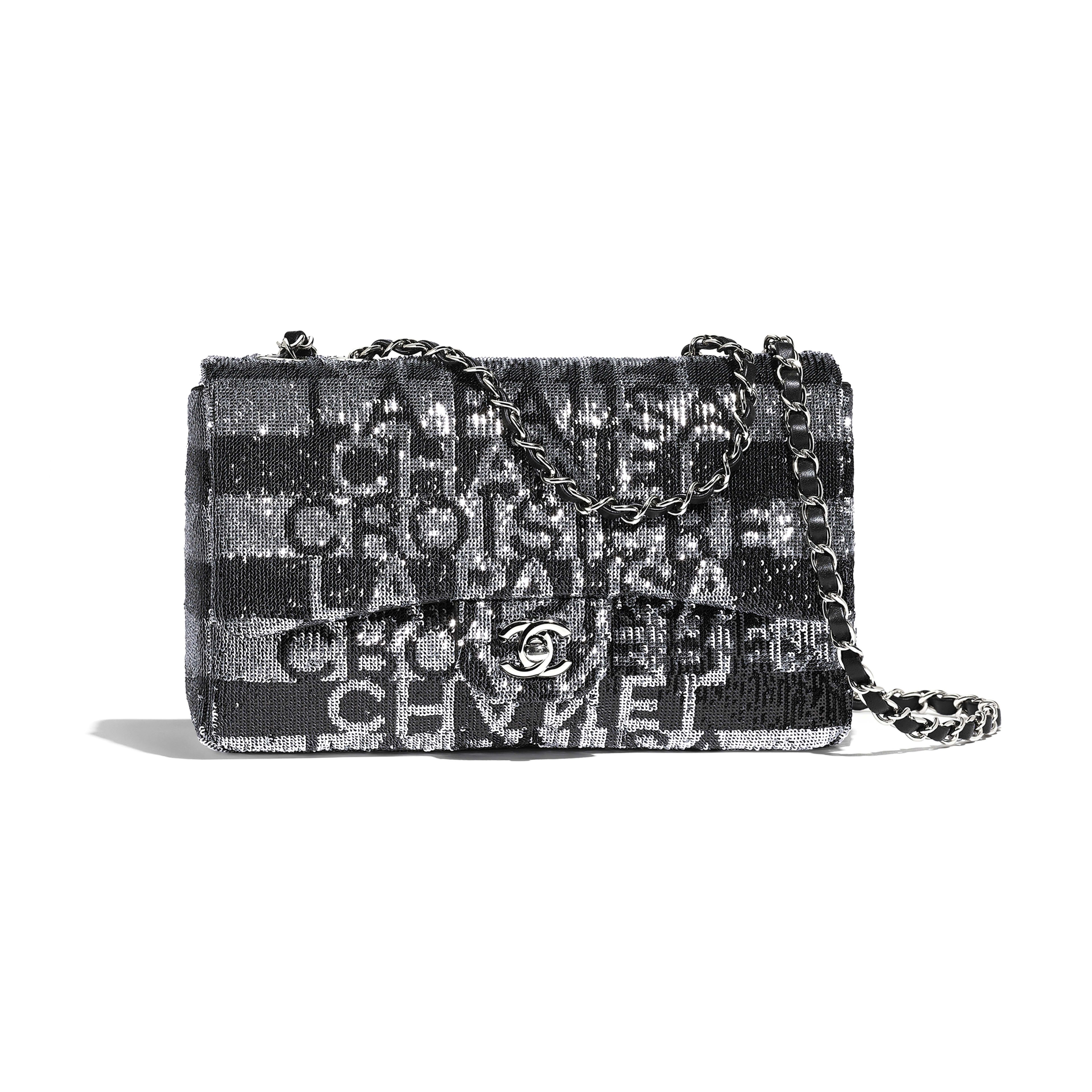e968ac7dc459 Embroidered Satin, Sequins & Silver-Tone Metal Silver & Black Flap Bag |  CHANEL