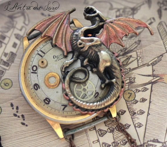 "Broche Steampunk gothique ""Colors of Dragon"" 2 versions"