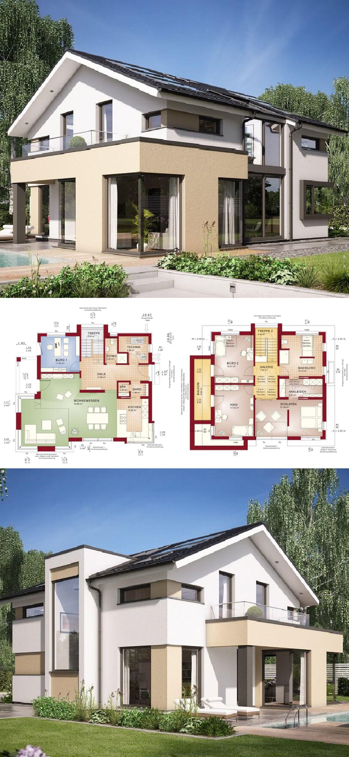 Einfamilienhaus Architektur Modern Mit Galerie U0026 Satteldach   Haus Bauen  Grundriss Fertighaus Design Concept M