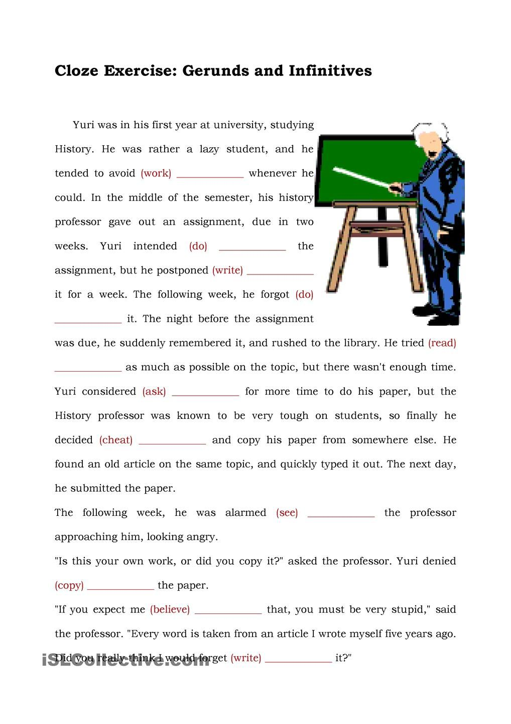 small resolution of GERUND AND INFINITIVE   Cloze activity