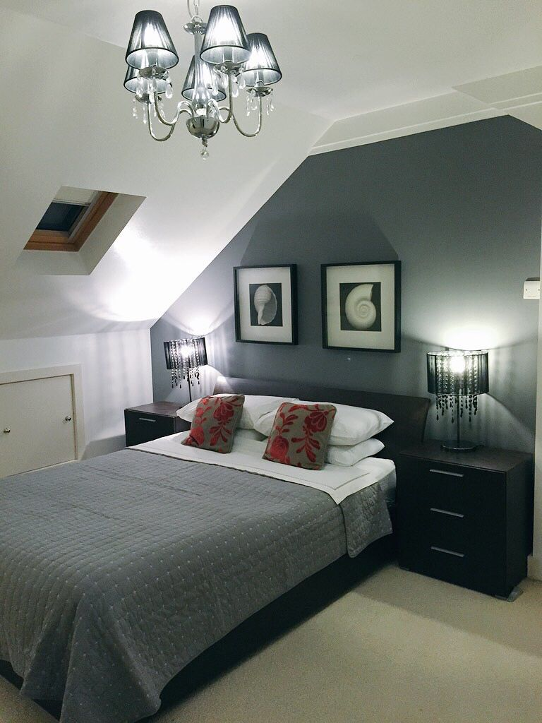 Hotel Room Decorating Ideas: Farrow & Ball Mole's Breath Accent Wall Paint Bedroom In