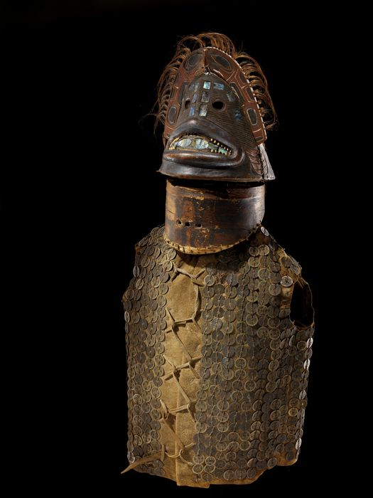 Tlingit armor made of walrus hide and Chinese coins.