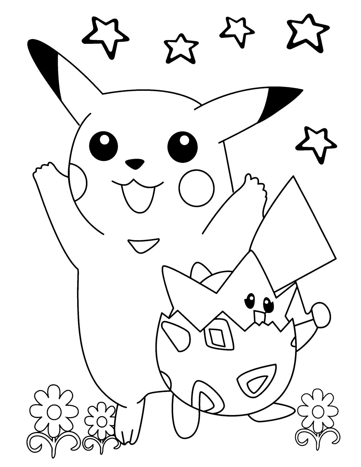 Printable Pokemon Pikachu And Togepi Coloring Pages In 2020 Pokemon Coloring Pages Pikachu Coloring Page Minion Coloring Pages