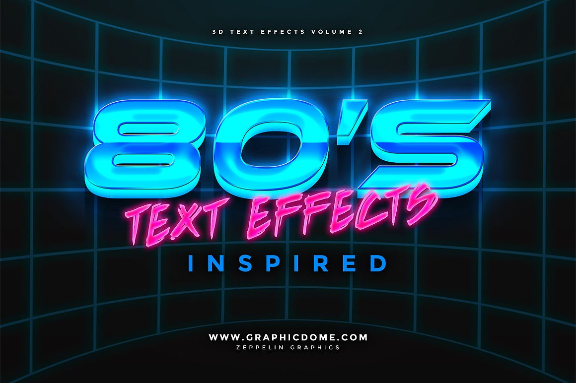 80s Text Effects by Zeppelin Graphics on creativemarket